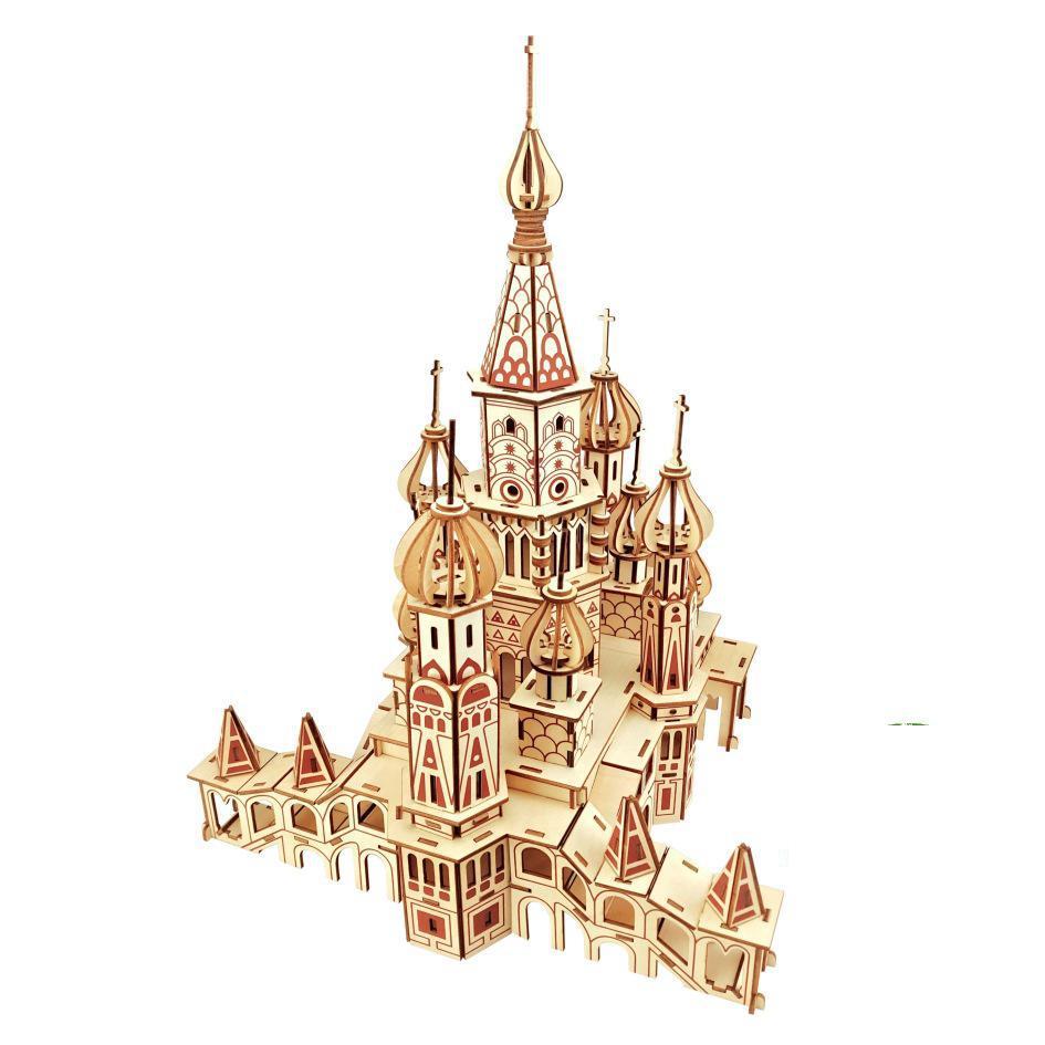 Лазерная резка DIY 3D деревянная головоломка по дереву сборочный Набор Россия собора святого Василия для детей Рождественский подарок