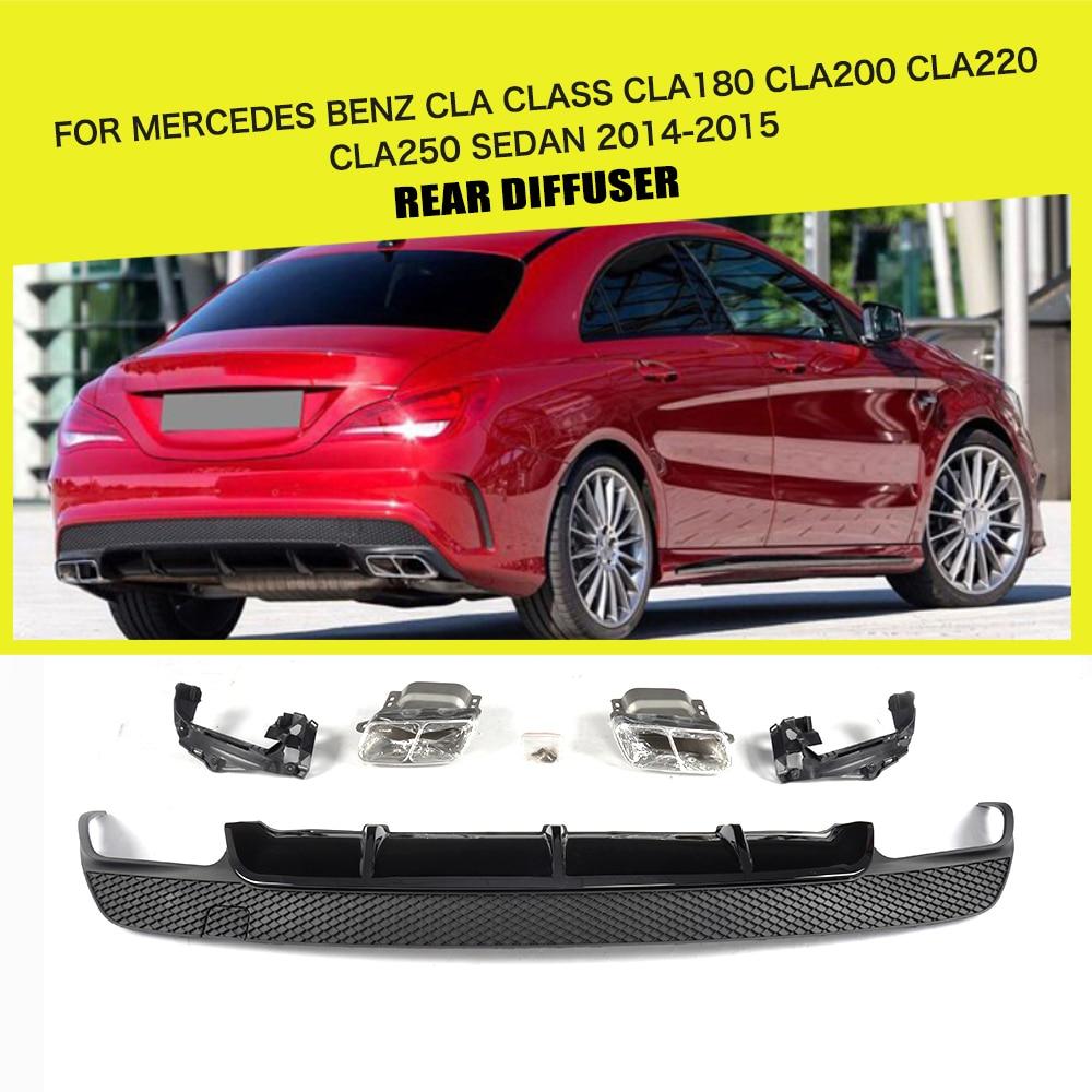 2014 Mercedes Benz Cla Class Camshaft: PP Car Rear Bumper Diffuser Lip Exhaust Muffler For
