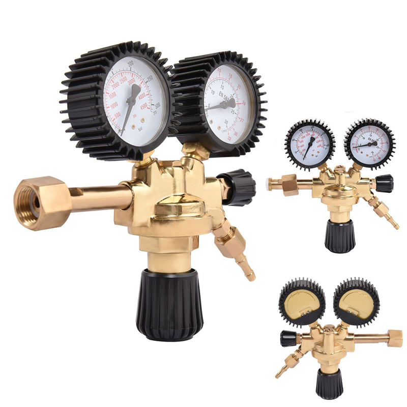 High Quality Brass AR CO2 Meter Reductor Argon Regulator Carbon Dioxide Regulator Mini Pressure Reducer Dual
