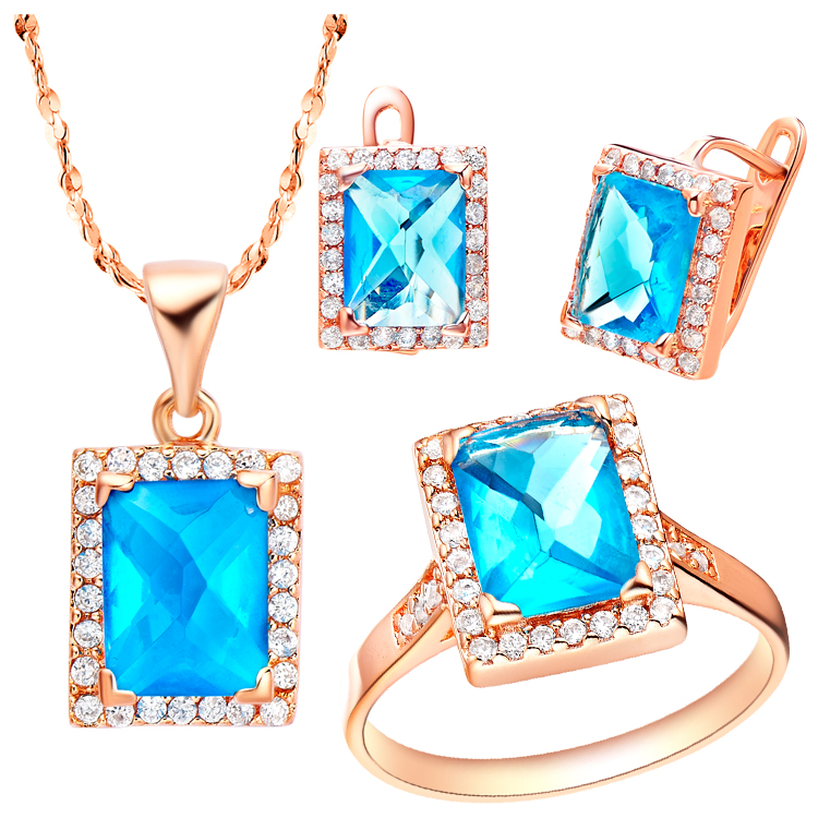 Qm Fine Jewelry Sets For Women Necklaces Earrings&rings rose Qm Plated Blue Crystal,pm Plating Purple Crystal