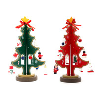 Wooden Christmas Trees New Year Xmas Tree Holiday Supplies With 16 Pcs Cute Snowman Ornament For
