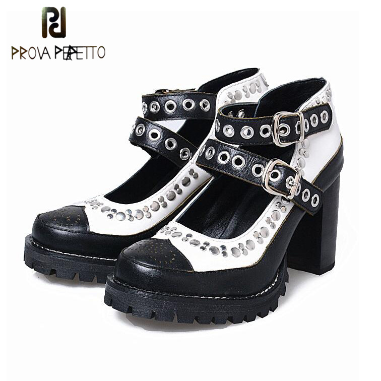 Prova Perfetto European Rivet Punk Buckle Shoes Women Cut Outs Mixed Color Gladiator Shoes Thick Bottom