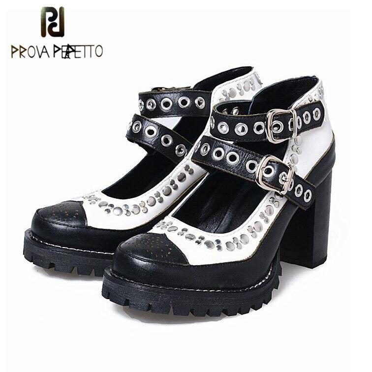 Prova perfettoヨーロッパリベットパンクバックル靴女性カットアウト混合色グラディエーターシューズ厚い底の浅い靴用女性  グループ上の 靴 からの レディースパンプス の中 1