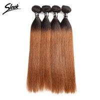 Sleek Ombre Brazilian Hair Straight 1B 30 Human Hair Weave Bundles Deal Two Tone Colored Remy