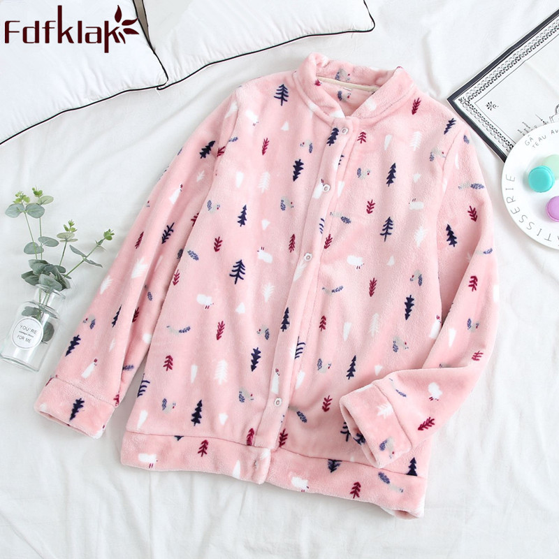 Winter Flannel Long Sleeve Pink Pijamas Women Pyjama Top Sleep Clothing Women Sleep And Lounge Thicken Warm Sleepwear Fdfklak