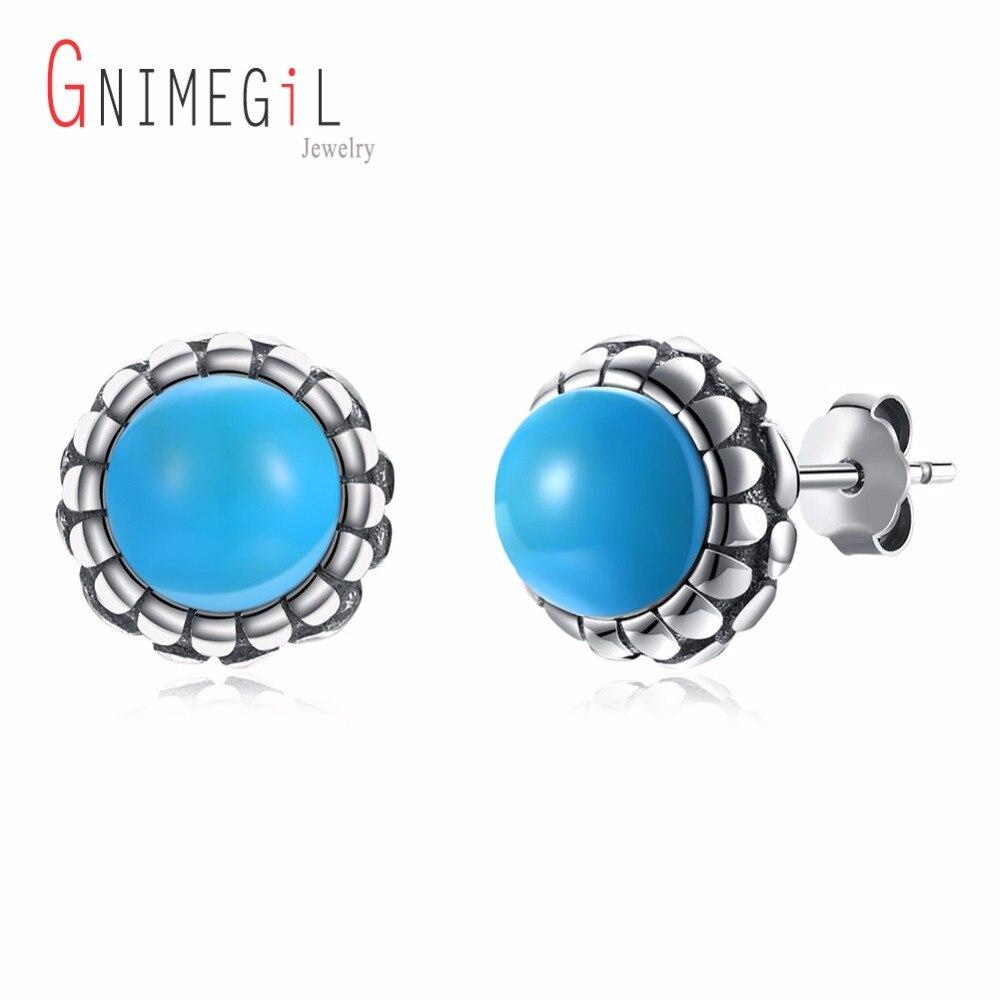 GNIMEGIL 925 Sterling Silver Turquoises earring 2017 Vintage Earrings Female Girl Round Kallaite Stud Earrings With Blue stone