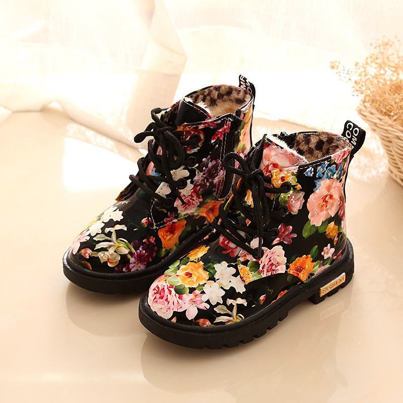 Comfy kids 2018 winter warm child Floral Boots Rubber Soled Girl Child Botas Graceful Flower Print Martin girls snow boots shoes
