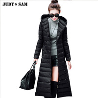 2017 Women New Duck Coat X Long Down Coat With Removeable Real Raccoon Fur Collar Match