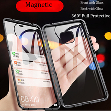 For Huawei Mate 20 Pro Magnetic Case 360 Front+Back double-sided 9H Tempered Glass Case for Huawei P20 Pro Mate20 Metal Bumper for huawei p30 pro magnetic case 360 double sided tempered glass case for huawei mate 20 pro p20 pro p smart z metal bumper case