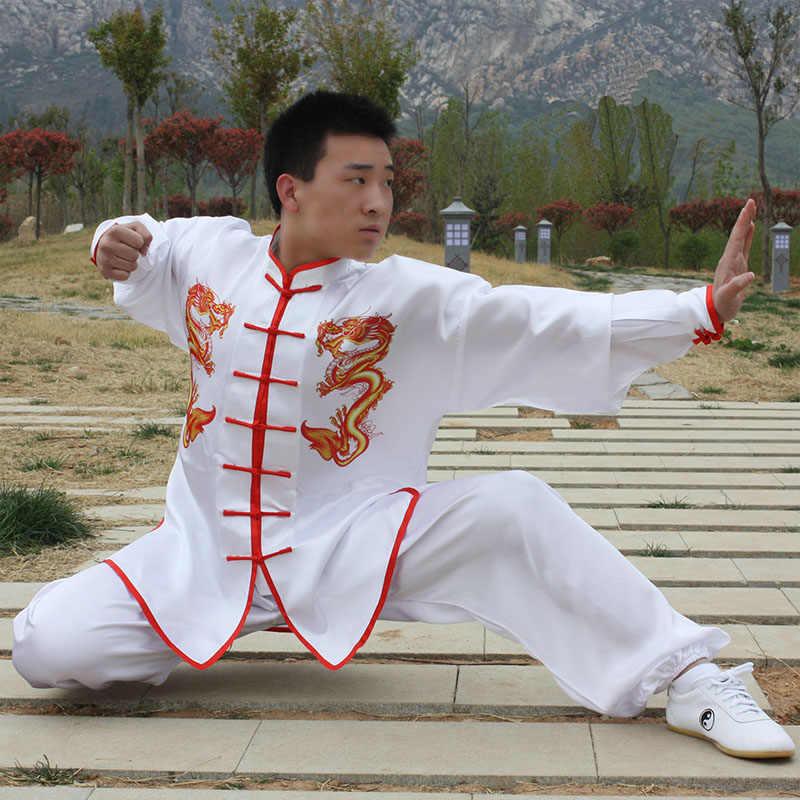 USHINE HX09 白ダブルドラゴン伝統的な中国の太極拳服長袖カンフー制服武術太極拳武道スーツ