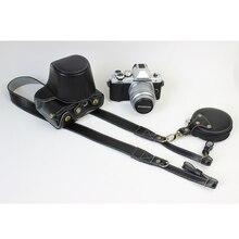 Black Real Genuine Leather Case with Wrist Strap Camera Hard Bag  For Olympus E-M10 II em10ii 14-42mm Lens DSLR Photo Bag Cases