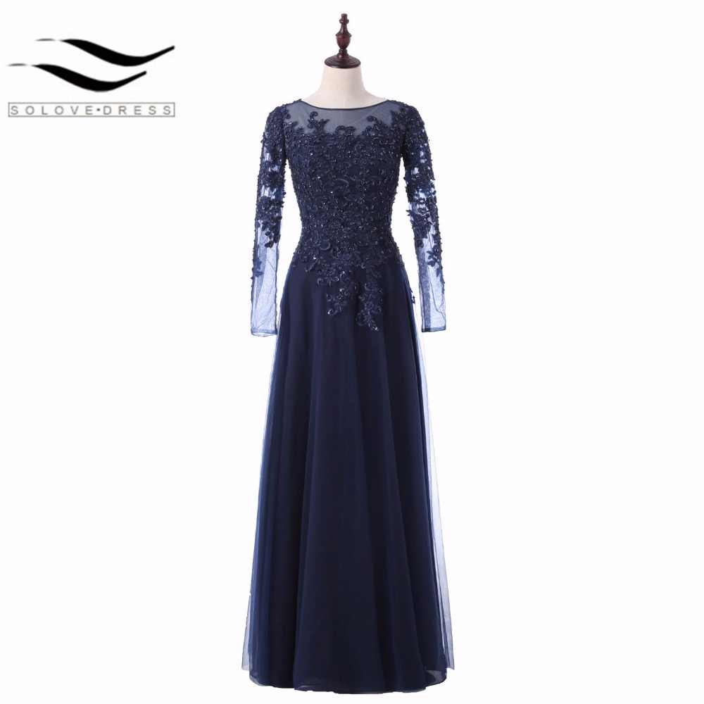dd0a6c615c3 A-Line Dark Navy Blue Long Sleeves Floor-Length Evening Dresses Beading Lace  Appliques
