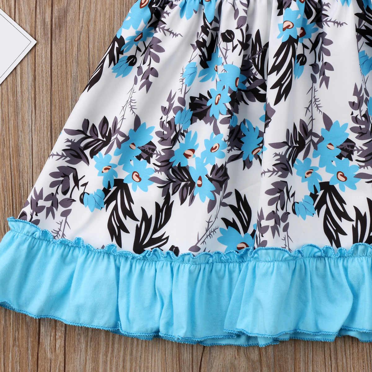 Нарядный сарафан с цветочным принтом для маленьких девочек Пышное Платье-пачка летнее свадебное платье с оборками