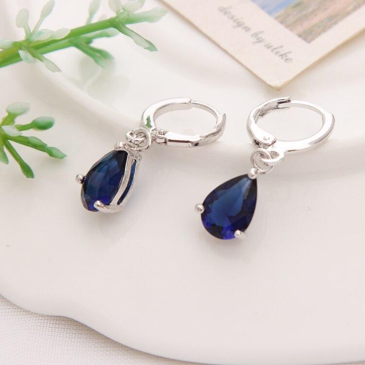 Gold Color Earrings Green Water Drop CZ Stone Pierced Dangle Earrings Women/Girls Long Drop Earrings fashion jewelry 22