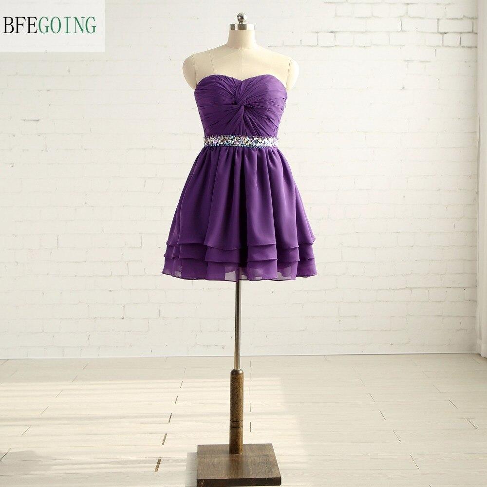 Purple Chiffon Knee-Length Formal   Bridesmaid     Dress   Sweetheart Sleeveless Beading Belt Real /Original Photos Custom made