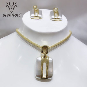 Image 3 - Viennois זהב/לערבב כסף צבע Stud עגילים גדול תליון תכשיטי סט לנשים תכשיטי סטים חדש