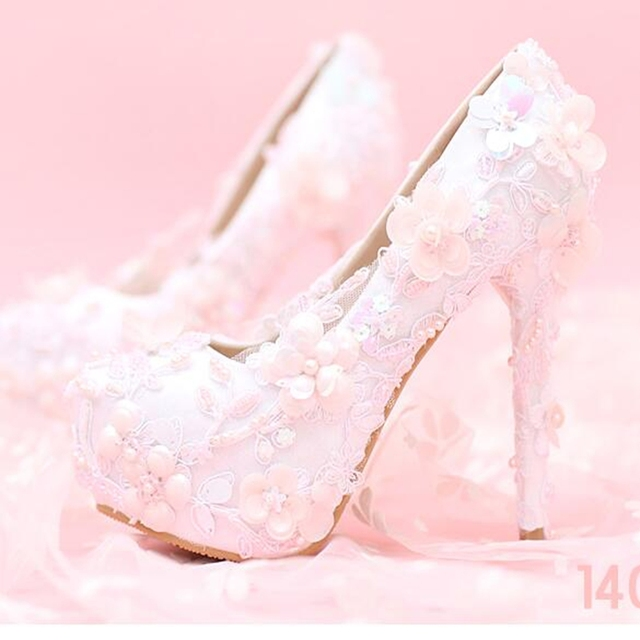 e3442252f27 2017 new arrival Cherry blossoms wedding shoes 14cm heel platfrom shoes  women white pink lace party shoes flower bridal shoes