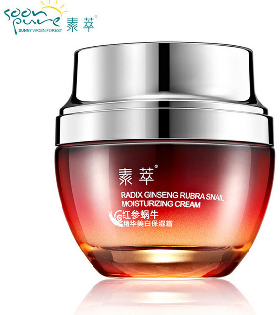 SOON PURE Red Ginseng Snail Cream Face Black Head Acne Treatment Ageless Moisturizing Skin Care Whitening Anti Winkles Beauty