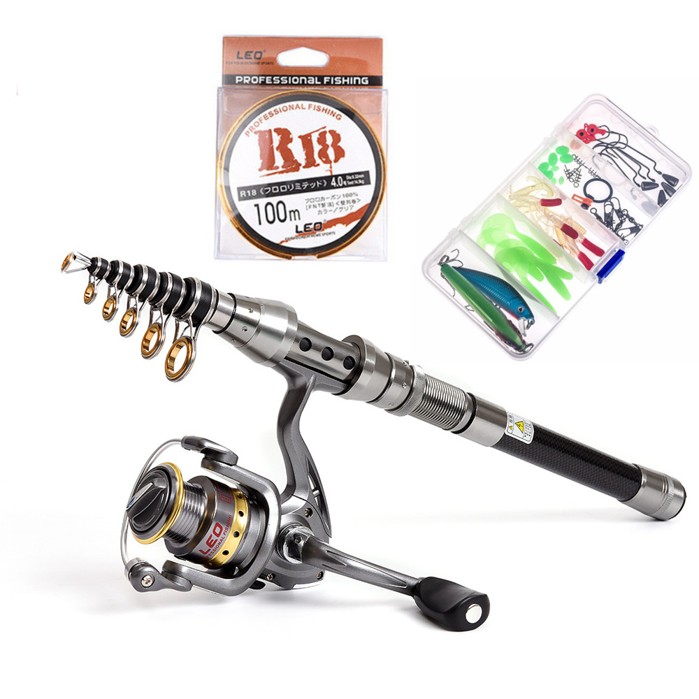 1.5M-2.4M Fishing Rod Combo FULL Kit Travel Spinning Telescopic Fishing  Reel Set with Line Lures Hooks 1.5M-2.4M Fishing Rod Combo FULL Kit Travel Spinning Telescopic Fishing  Reel Set with Line Lures Hooks
