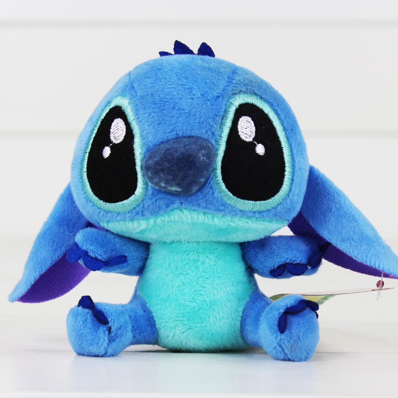 "4""10cm Lilo Stitch Plush Toys Dolls With Sucker Keychain Soft Stuffed For Kids Baby Gifts"
