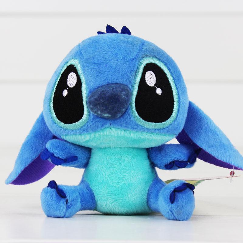 "4""10cm Lilo Stitch Plush Toys Dolls With Sucker Keychain Soft Stuffed For Kids Baby Gifts"