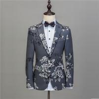 NA50 мужской цветочный свадебный костюм для жениха, новый стиль, костюм на заказ, мужские костюмы, облегающие серые костюмы, 3D Цветочный смоки...