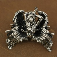 High Detail 925 Sterling Silver Andromeda Pendant Sexy Angel Biker Pendant TA82A