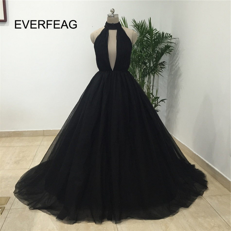 588102d7af Real Picture 2018 Sexy Ball Gown Prom Dresses Black Deep V Neck Tulle Halter  Flower Long Evening Gowns vestido longo Custom