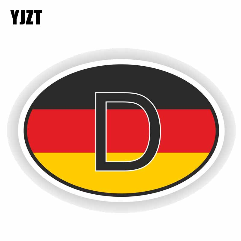 YJZT 12.5CM*8.5CM Personality Car Sticker Funny German Country Code Decal PVC 6-0198