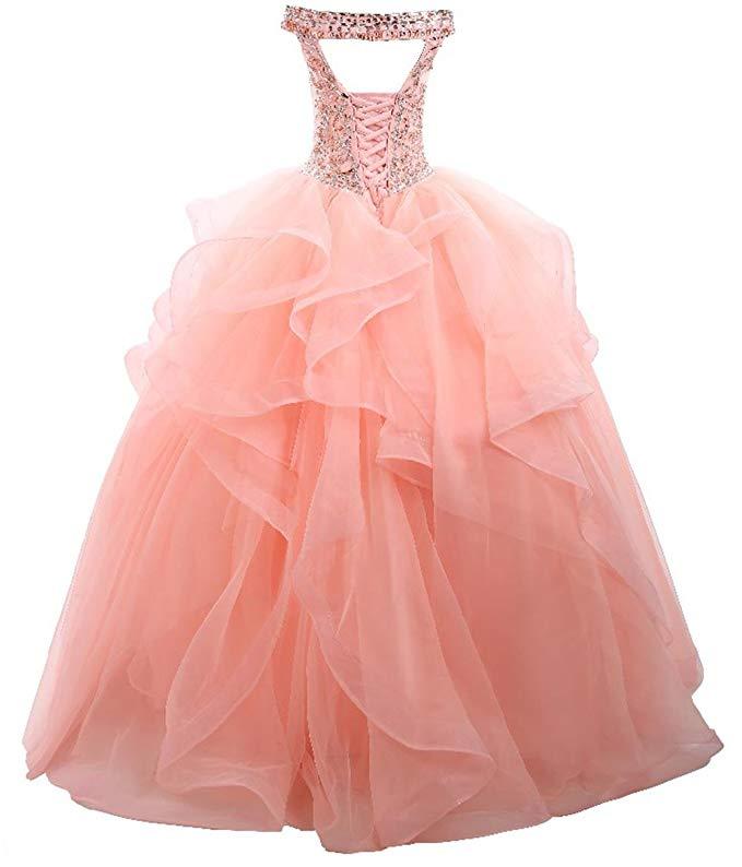 2019 Off-The-Shoulder Beading Sequins Lace-up Layer Organza Prom Dress Vestidos De Festa Longo