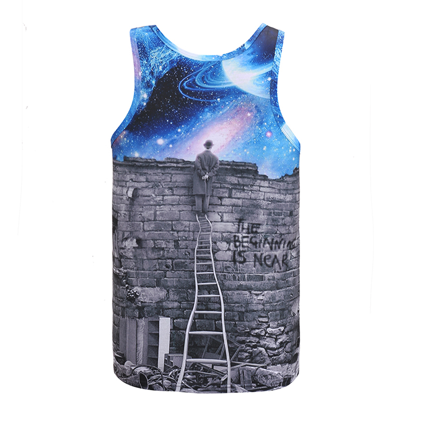 Mr.BaoLong Newest 2017 Europe and American Mens Tank tops 3d fashion print person watching meteor shower Space galaxy vest DB10