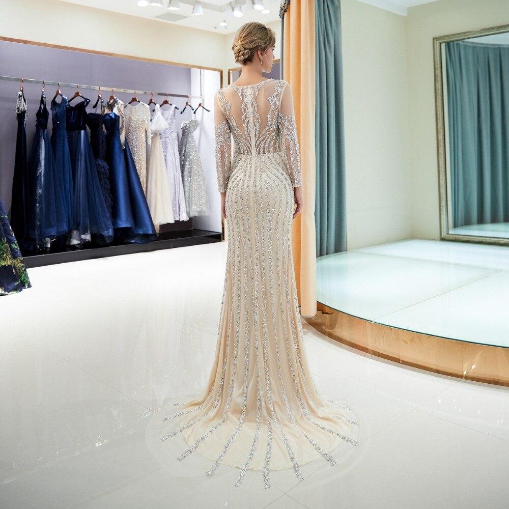 Perlée robes de soirée de luxe gris/Champagne sirène cristal balayage Train manches longues gris transparent cou bal formel robe de soirée - 5
