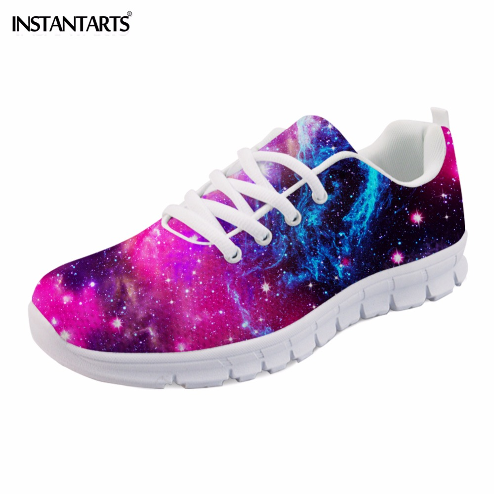 INSTANTARTS 2018 Fashion Women Sneakers Casual Galaxy Flat Shoes 3D Universe Star Printed Woman Flats Breathable Tenis Walk Shoe instantarts women flats emoji face smile pattern summer air mesh beach flat shoes for youth girls mujer casual light sneakers