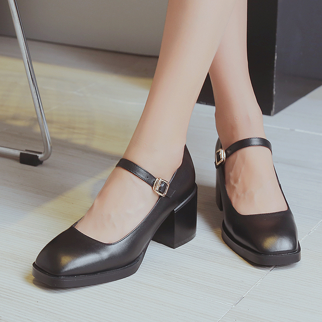 fb2186004a6f1 US $56.0 |Women's Spring Med Heel Square Toe Mary Jane Pumps Brand Designer  Croos Strap Comfort Cute Korean Style Ladies Heels Shoes Women-in Women's  ...