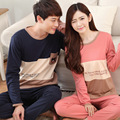 New 2016 spring and autumn Lovers sleepwear silk long-sleeve cartoon lovers home wear couple pajamas sets for men and women