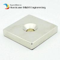NdFeB Fix Magnet 50x50x10 mm with 1 M8 Screw Countersunk Hole Block N42 Neodymium Rare Earth Permanent Magnet 4pcs/lot
