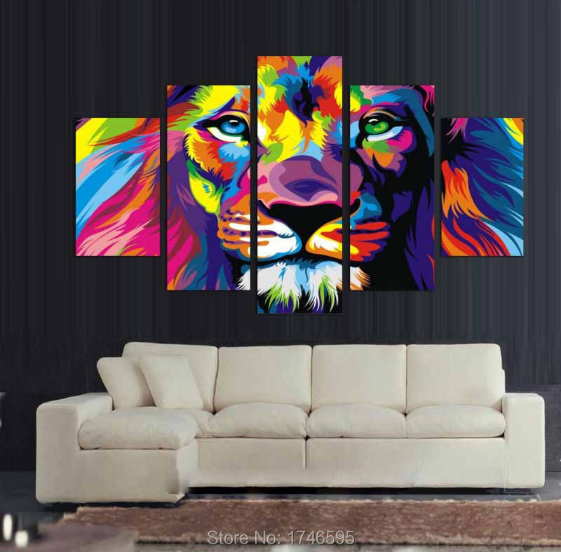 Big Size Abstract Living Room Wall Decor Colorful Wall Art Picture Decor  Printed Lion King Painting On Canvas Art Print /PT0230 In Painting U0026  Calligraphy ...