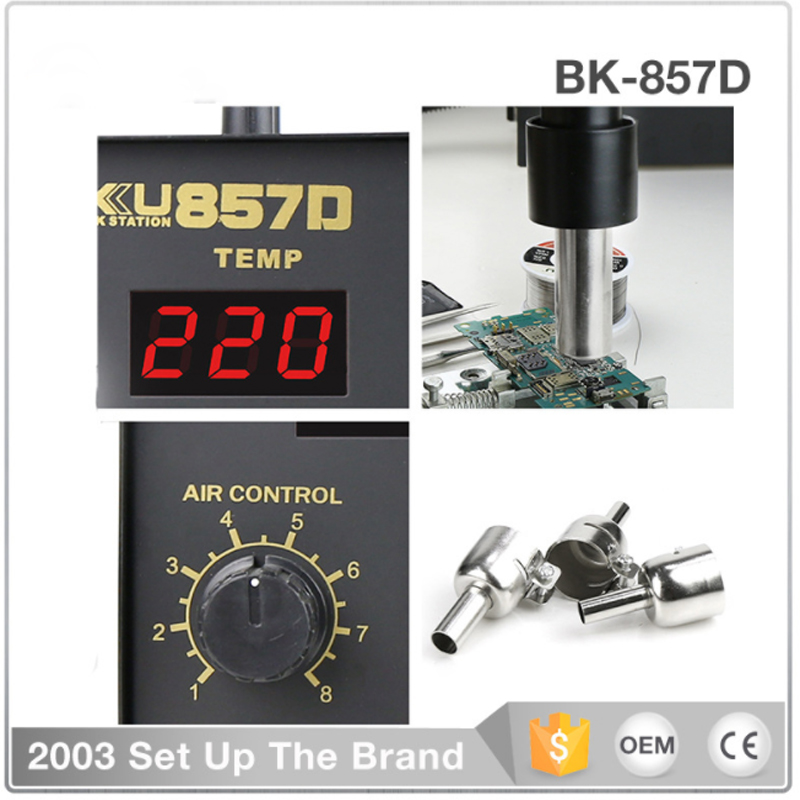 BK 857D hot air gun desoldering station digital display can regulate temperature SMD digital mobile phone repair tools in Electric Soldering Irons from Tools