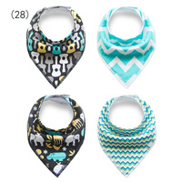 4Pcs Styles Baby Burp Bandana Bibs Cotton Soft Kids Toddler Triangle Scarf Bib Cool Accessories Infant