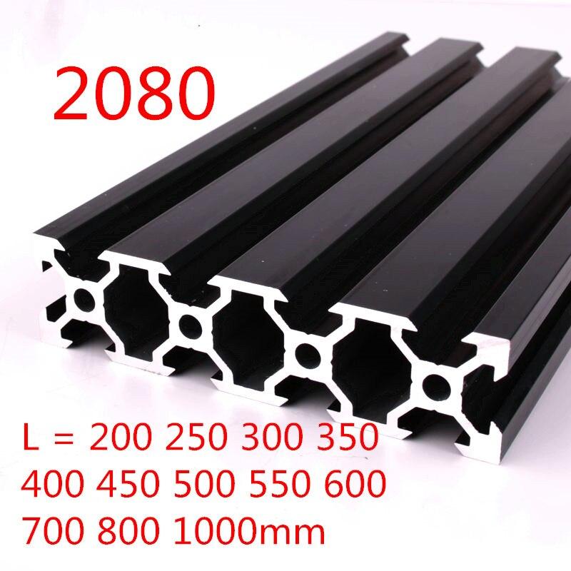 100mm-800mm שחור 2080 אלומיניום שחול פרופיל מסגרת עבור CNC לייזר חריטת מכונת כלי נגרות DIY
