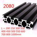 100mm-800mm Black 2080 Aluminum Profile Extrusion Frame for CNC Laser Engraving Machine Tool Woodworking DIY