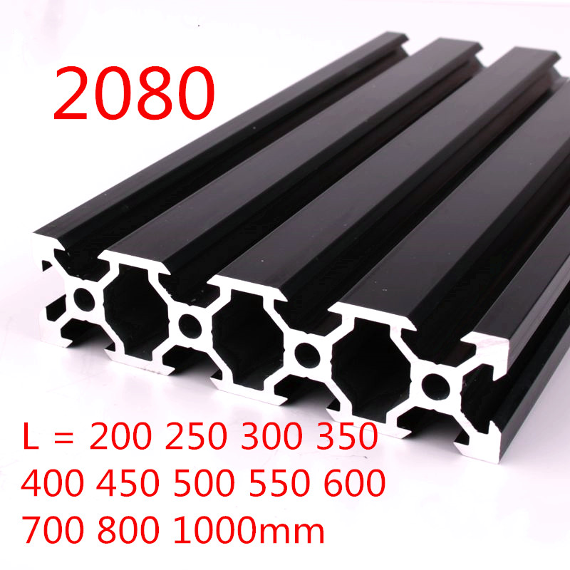 100mm-800mm Black <font><b>2080</b></font> <font><b>Aluminum</b></font> <font><b>Profile</b></font> <font><b>Extrusion</b></font> Frame for CNC Laser Engraving Machine Tool Woodworking DIY image