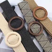 Summer Solid Female Belt Vintage Boho Braided Waist Round Wooden Smooth Buckle Fake Straw Wide Belts For Women Hot Sale
