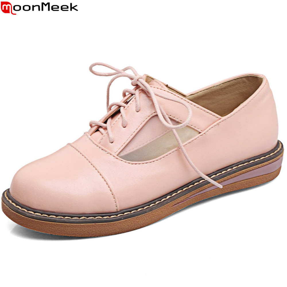 MoonMeek pink white fashion new Arriva spring autumn women shoes round toe lace up casual shoes simple ladies flats shoes new spring women casual platform shoes lace up round toe black pink white casual shoes women comfortble ladies shoes size 33 43