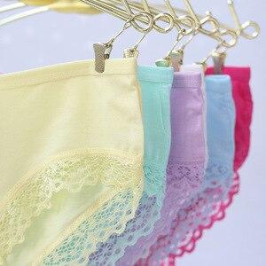 Image 2 - 5pcs/lot cotton girls underwear solid low waist short briefs comfortable Antibacterial woman panties 100% brand new
