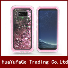 New Arrival 2 in 1 Belt clip Glitter Liquid Quicksand Plastic hard back phone cases cover for Samsung Galaxy S8 Plus