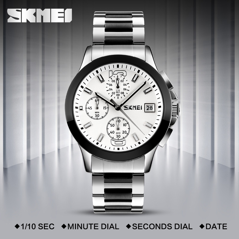 SKMEI Fashion Quartz-Watch Waterproof Multi Dial Stop Watch Japan Movement Men Wristwatches Steel Band Montre Homme Erkek Saat skmei blue led watch with round dial silicon watch band