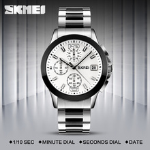 SKMEI Fashion Quartz-Watch Waterproof Multi Dial Stop Watch Japan Movement Men Wristwatches Steel Band Montre Homme Erkek Saat winner men fashion skeleton mechanical watch stainess steel clock transparent steampunk montre homme wristwatches erkek kol saat