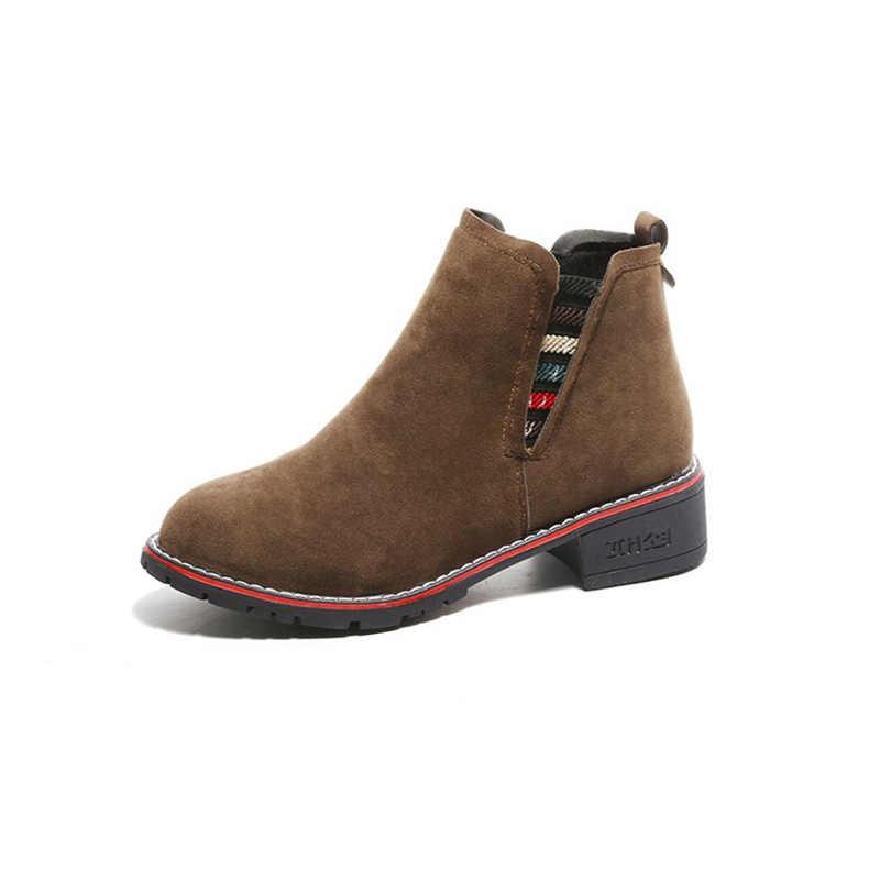 TOPUK GRAND 2018 Yeni Gelmesi Kadın Moda Katı Botları Slip-on Kış ve Bahar Ayakkabı Akın Deri yarım çizmeler Mujer ayakkabı XWX6847