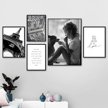 Paris Tower Girl Dog Love Quote Landscape Wall Art Canvas Painting Nordic Posters And Prints Pictures For Living Room Decor